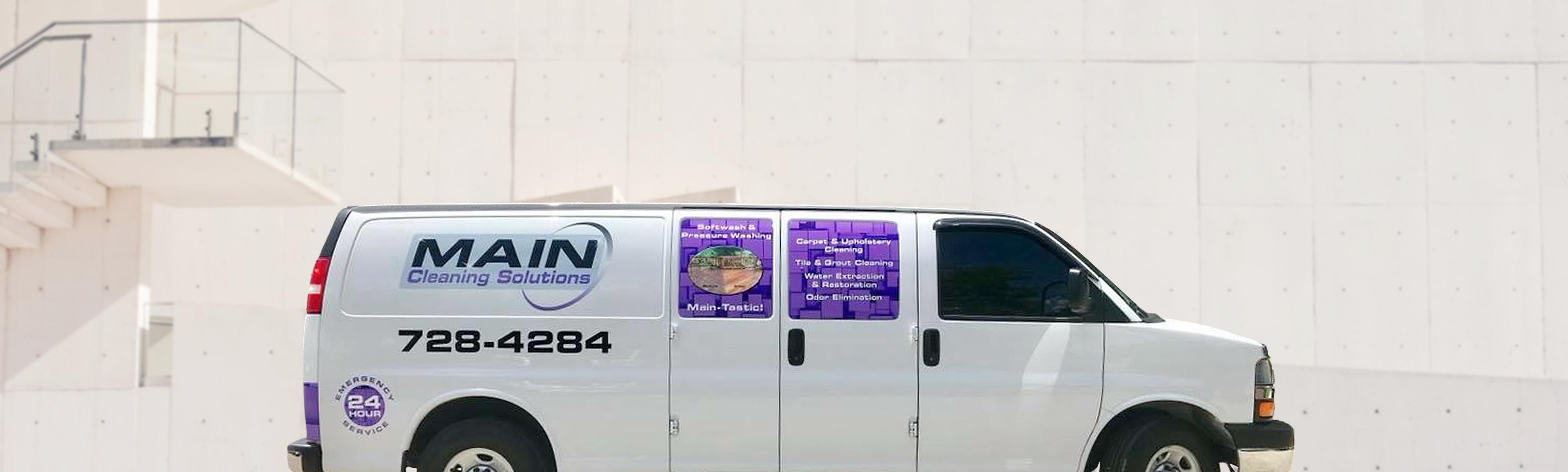 Main Cleaning Solutions homepage Image of van